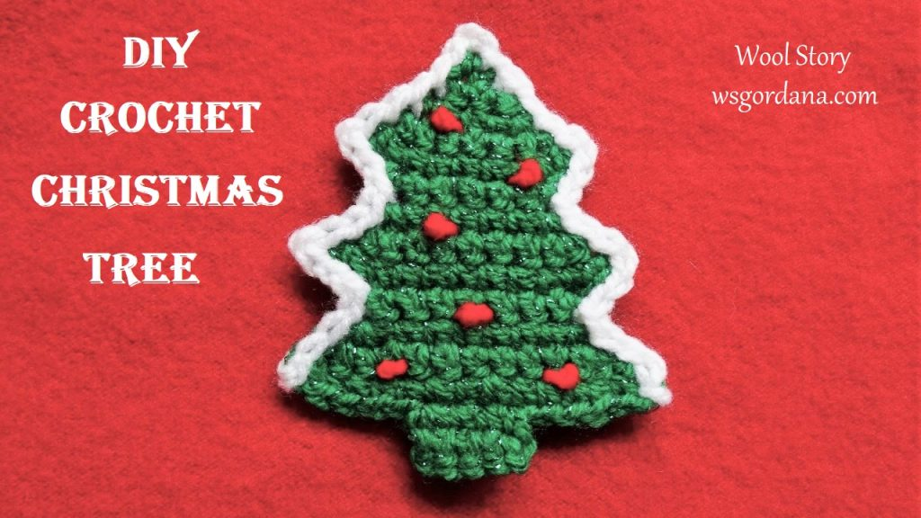Total 4 SC. Turn your work. Row 14: CH, SC to the end row, Total 4 SC. White yarn – Make slip stitches around the Christmas Tree.