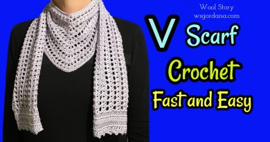 221 – Crochet Triangle Shawl – V Scarf