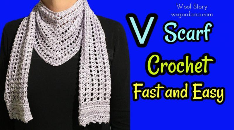 DIY Crochet Triangle Shawl – V Scarf | Wool Story by Gordana