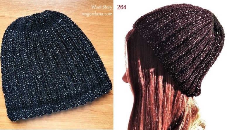 264 – Knitting Tutorial – Black Sparkly Hat
