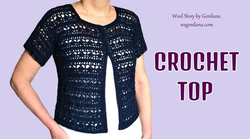 283 – Crochet Dark Blue Summer Blouse – Lace Motif