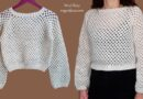 335 –  Crochet Top-Down Sweater with Sleeves